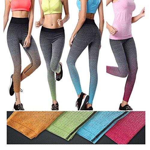 Pantaloni Elastico Yoga Donna Leggings Skinny Striscia Stretch Palestra Per Verde 5EqXnW