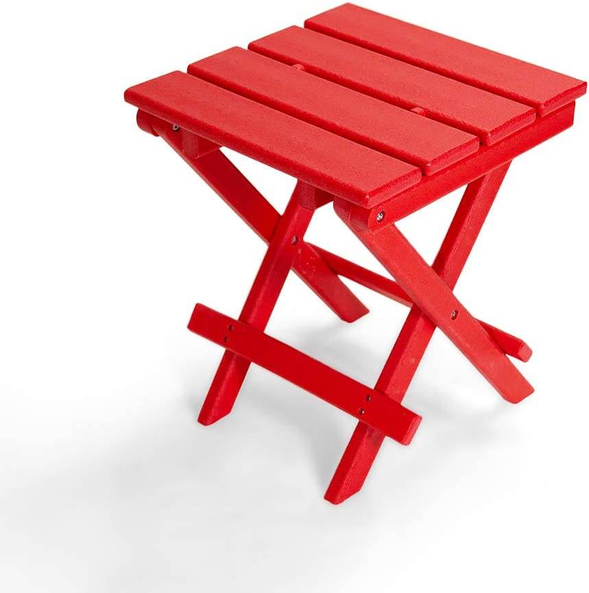 Resin TEAK Folding Outdoor Side Table   Fully Assembled   Weather Resistant, Patio Side Table for Small Spaces Outside (Red)