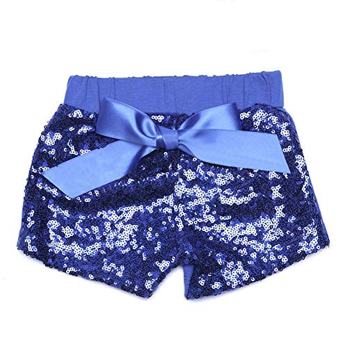 (Digirlsor Baby Girls Sequin Shorts Toddler Kids Bowknot Cotton Short Pants Sparkles on Front,1-8Y (0-1 Years/Tags, Royal Blue Sequin))