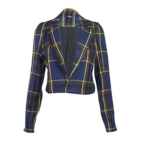 Plaid Cropped Jacket - Naven Womens Cropped Plaid Vamp Jacket Navy Plaid 4