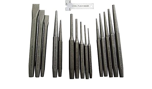 16pc Industrial Punch and Chisel Set Mechanics Pin Tapered Center Chisel Punch