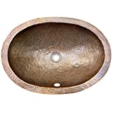 Houzer HW-ELI1EF Hammerwerks 6-Inch Oval Deep Lavatory Sink with Overflow, Antique Copper