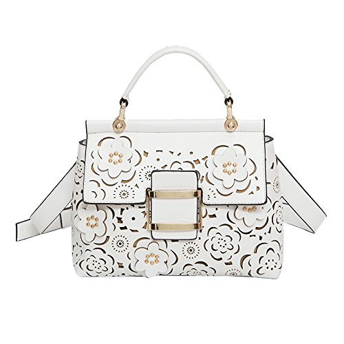 Gloria Fish Girls Hollow Out flower shape Design Fashion Personality PU Leather Handbags Or Crossbody Bags.(White,Black,Red)