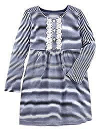 OshKosh B'Gosh Baby / Toddler Girls Crochet Lace Striped Henley Dress