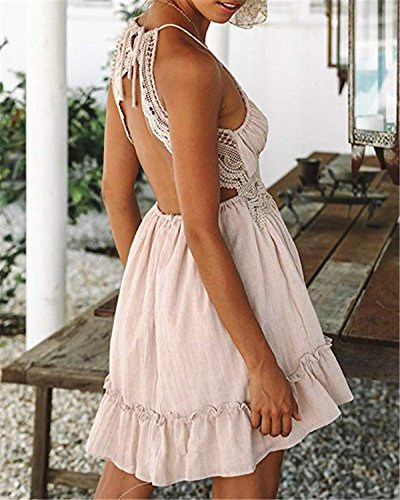 Lace Mini Sundress Women's ALAPUSA Pink line Dress A Halter Sexy CSwwtq