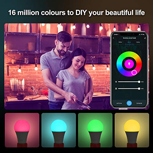 Smart Light Bulb Alexa, E26 60W, WiFi LED RGB Color Changing Light Bulb Dimmable Compatible with Alexa, Echo and Google Assistant, Tunable White 2700K-6500K, No Hub Required A19 4 Pack LEDEPLY