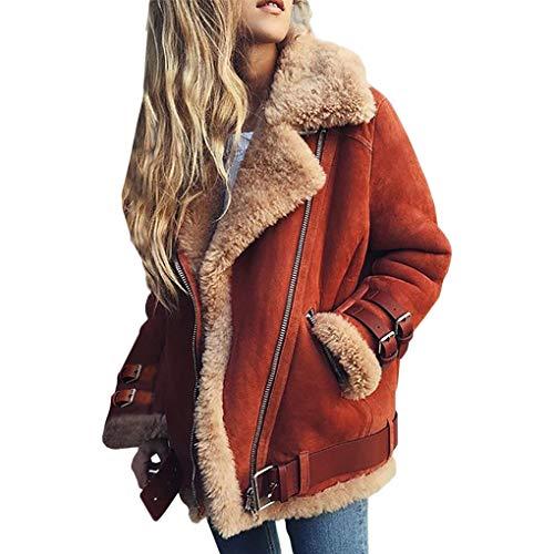 - irene inevent Women Oblique Zipper Lapel Faux Suede Fleece Lined Fashion Coat Jacket Outwear