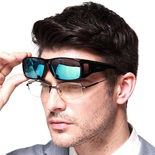 Duco Unisex HD Wraparound Prescription Glasses Polarized Sunglasses 8954 (Black Frame Revo ()