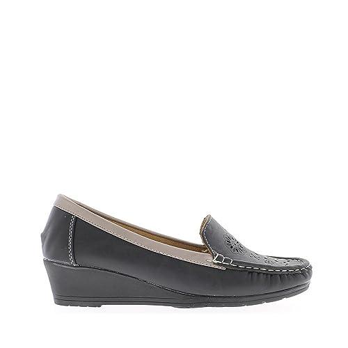 Comodidad de talón Mocasines Mujer Negro cuña pequeña - 41  Amazon.es   Zapatos y complementos ae81e671fd09