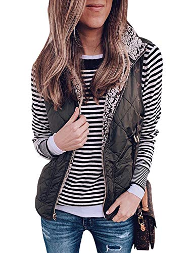 SHIBEVER Women's Warm Sherpa Fleece Vest Reversible Wear Zip Up Front Sleeveless Cardigan Overwear Coats Jacket with Pockets