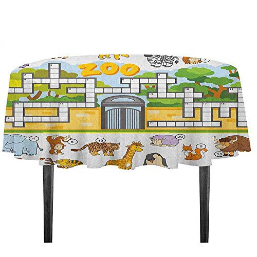 kangkaishi Word Search Puzzle Printed Tablecloth Zoo Themed Education Game with Different Animals Numbers and Words Print Outdoor and Indoor use D59.05 Inch Multicolor -