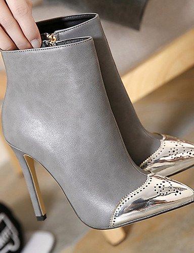 Botas Cn39 Uk6 Eu39 Mujer Black Xzz Tacón Uk6 Zapatos Semicuero 5 us8 Negro Vestido Gris Tacones De us8 Stiletto Gray Puntiagudos Cn40 5 qBB0faw