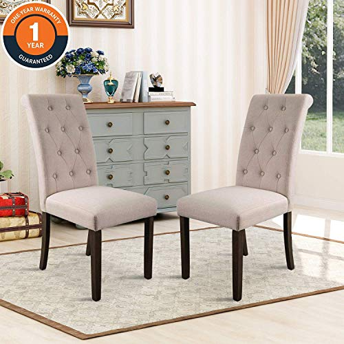 Merax Aristocratic Style Dining Chair Noble and Elegant Solid Wood Tufted Dining Chair Dining Room Set (Set of 2) (Tufted Chairs Upholstered Dining)