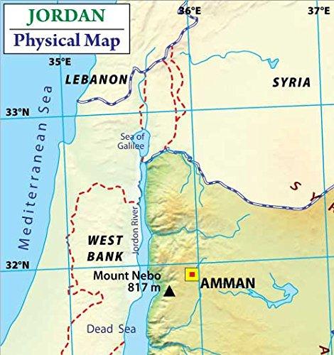 Amazoncom Jordan Physical Map Laminated 36 W x 3811 H