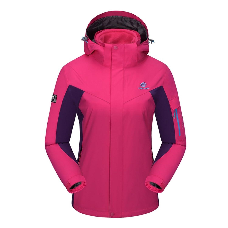 emansmoer Damen 3 in 1 Winddicht Wasserdicht Atmungsaktiv Mantel Outdoor Sport Camping Wandern Jacke mit Fleecejacke