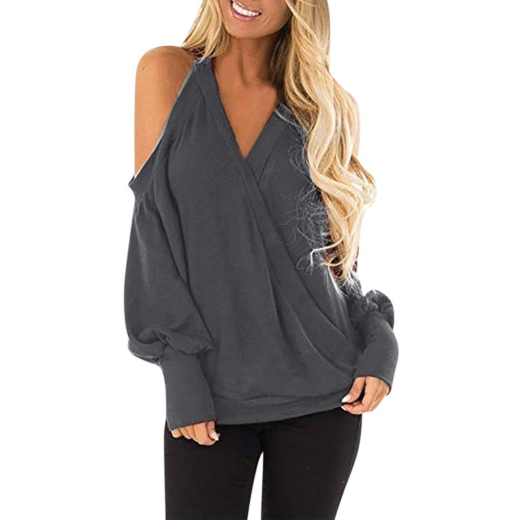 Rambling 2019 Women's Cold Shoulder Tops Long Sleeve Deep V-Neck Wrap Front Blouse Loose Pullover (Gray A, S)