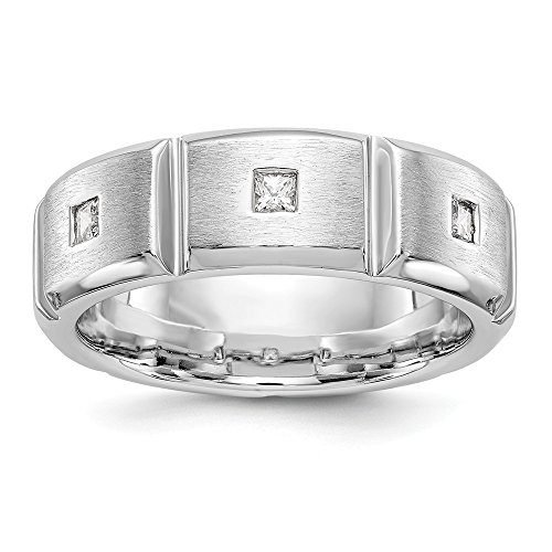 JewelrySuperMart Collection 1/5 CT 14k White Gold AA Diamond Men's Band. 0.21 ctw. Size 13