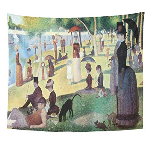 Semtomn Tapestry Artwork Wall Hanging Vacation Sunday Afternoon Island La Grande by Seurat Parasols 50x60 Inches Tapestries Mattress Tablecloth Curtain Home Decor Print -