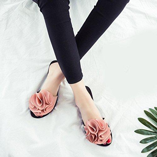 Damen Zehentrenner, Yogogo Strand Schuhe Blume flache Sandalen Slip Resistant Pantoffeln Sandale (35, Rosa)