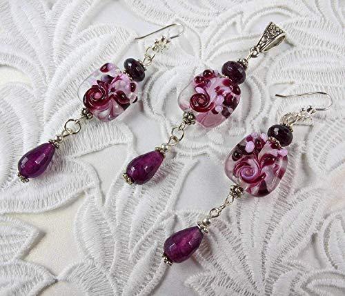 Flowers Jewelry Set Earrings Pendant author lampwork garnet jade Silver Dangle Long Set Charming for Women