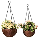 Moutik Hanging Planter Basket Outdoor Indoor Use, Self-Watering 10' & 8' Two Size Elegant Round Plastic Wicker-Design Chain Baskets with Drain Plug for Flowers and Plants