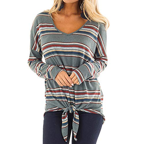 CUCUHAM Women Fashion Striped Long Sleeve V Neck Bandage Top Blouse(Gray ,US:12/CN:L) -