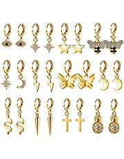 SAILIMUE 12 Pairs Small Butterfly Star Hoop Earrings Set for Women CZ Bee Cute Mini Huggie Hoop Earrings Pack with Dangle Charms Gold Tone