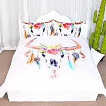 Kingtex 3 Pieces Boho Feather Duvet Cover Set Colorful Floral Cow Skull Adorned with Feathers Hippie Bohemian Mandala Blanket Quilt Cover Bedspread Bedding Comforter Cover (Full)