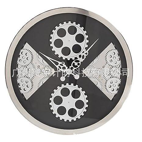 WXIN Reloj De Pared Del Salón Miu Escala Dinámica De Marcha Del Ventilador De Vidrio De Reloj Relojes El Salón Del Antiguo Reloj De Pared: Amazon.es: Hogar