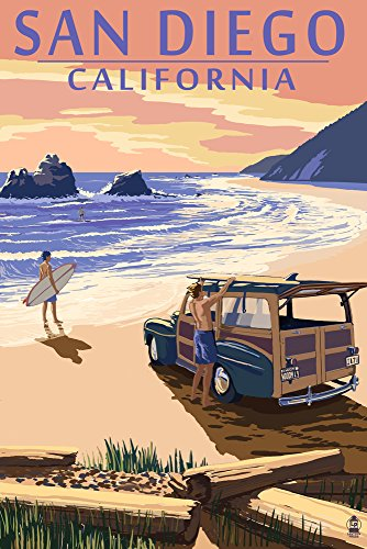 San Diego, California - Woody on Beach (12x18 Art Print, Wall Decor Travel Poster)