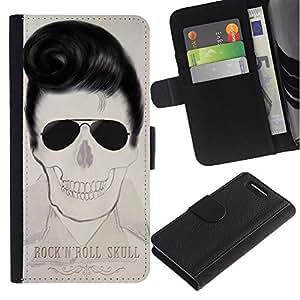 A-type (Elvis rollo de la roca estrella del cráneo Cool Music) Colorida Impresión Funda Cuero Monedero Caja Bolsa Cubierta Caja Piel Card Slots Para Sony Xperia Z3 Compact / Z3 Mini (Not Z3)