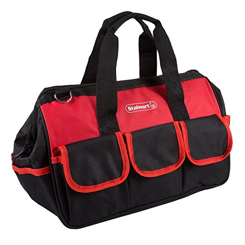 Soft Sided Tool Bag With Wide-Mouth Storage, Storage Pockets and Carrying Strap- Durable 12 Inch Pouch for Tools and Organization By Stalwart (Red) by Stalwart
