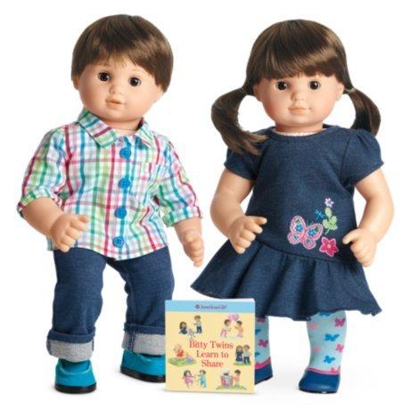 American Girl Bitty Twin Dolls 2B/2G Boy & Girl Light Skin, Brown Hair, Brown Eyes NEW