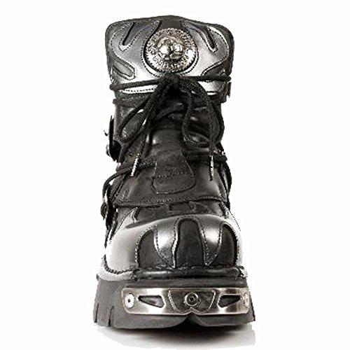 New Rock Metallic nero Pelle Stivali M.288-S2 Black