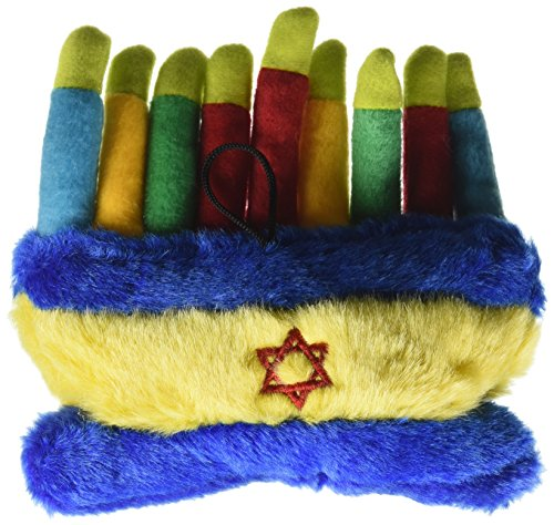 Copa Judaica Chewish Treat Hannukkah Menorah Squeaker Plush Dog Toy, 6 by 5 by 2.5-Inch, Multicolor ()