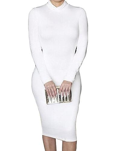 Ranessa Women's High Neck Long Sleeve Sexy Bodycon Bandage Night Club Midi Dresses