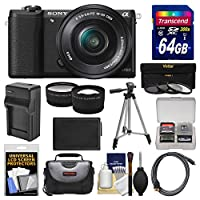 Sony Alpha A5100 Wi-Fi Digital Camera & 16-50mm Lens with 64GB Card + Case + Battery & Charger + Tripod + Filters + Tele/Wide Lens Kit