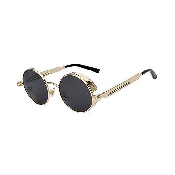 KUNHAN Gafas de sol Gafas De Sol Redondas De Metal Hombre ...