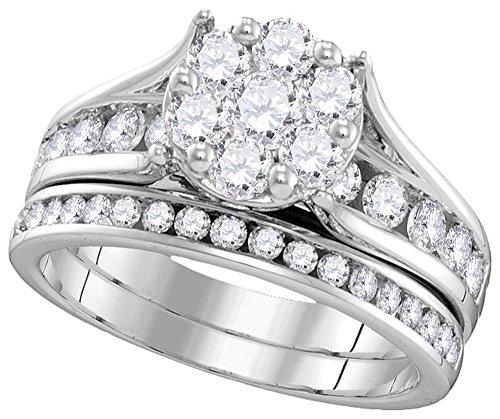 1 1/2 Total Carat Weight DIAMOND FLOWER BRIDAL SET by Jawa Fashion