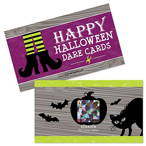 Big Dot of Happiness Happy Halloween - Witch Party Game Scratch Off Dare Cards - 22 Count -