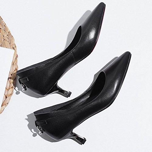 Travail DKFJKI de Hauts pour Noir Pompes Strass Talons Talon Mi Pourboires Femmes Chaussures r8zrw5