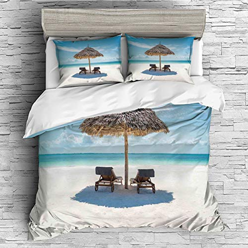 Cotton Bedding Sets Duvet Cover with Pillowcases Printed Comforter Cover Sets(King Size) Seaside,Wooden Sun Loungers Facing Eastern Ocean Under a Thatched Umbrella in Zanzibar,Turquoise Cream