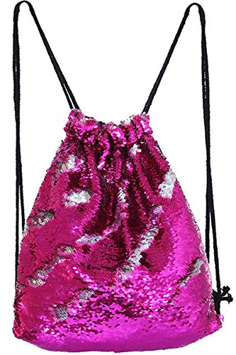 Pink/Silver Sequin Drawstring Bag