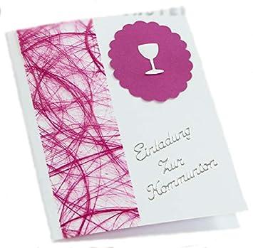 10 x einladung einladungskarte kommunion konfirmation einladungen kk018 in verschiedenen farben pink