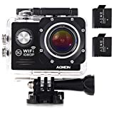 Underwater Camera, Aokon ASJ70 Waterproof Sports Action WiFi 1080P 12M HD Helmet Motorcycle Digital Video Cam with 170 Wide Angle Lens 2.0 LCD 4X Zoom 2 Batteries and 19 Accessories Kit (Black)