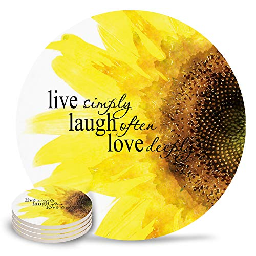 Set Of 4 Ceramic Coasters Sunflower Design Absorbent Drink Coaster With Cork Bottom Protect Furniture From Scratches And Water Stain