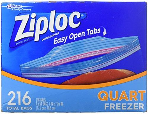 Ziploc Double Zipper Heavy Duty Quart Freezer Bags (216 CT)