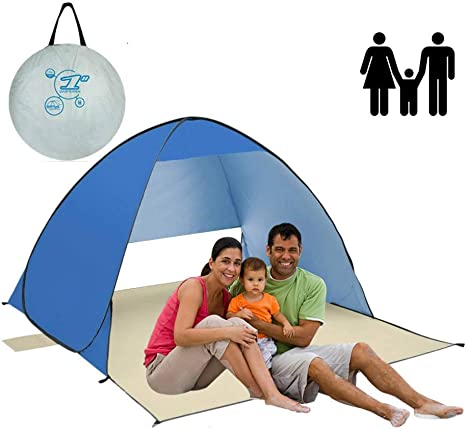 New Summer Beach Tent Blue Anti-UV Automatic Fashion Sun Protection Portable UK