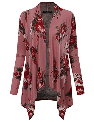 All for You Women's Long Sleeve Flowy Open Floral Print Cardigan Made in USA Marsala 7541 Small - Floral Ribbed Cardigan