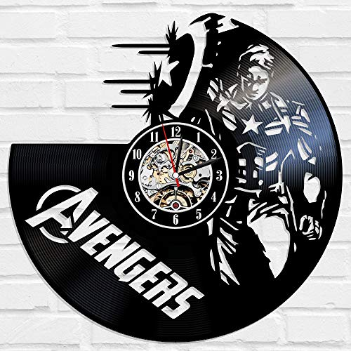 (Kovides Marvel Comics Art Avengers Decals Gift Idea Avengers Wall Clock Large Decorations for Party Avengers Marvel Comics Avengers Wall Art Retro Vinyl Record Clock Vintage Wall)
